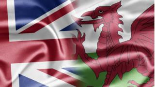 Union flag merged into Welsh dragon flag