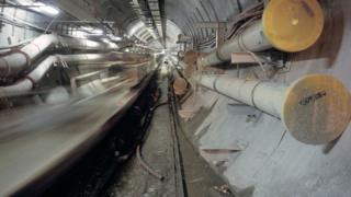 The Channel tunnel during construction