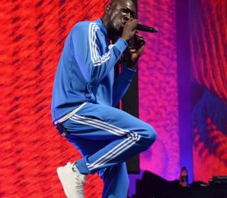 Stormzy performing at Glastonbury