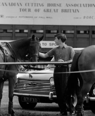 Prince Charles with one of the polo ponies at Smith's Lawn, Windsor Great Park
