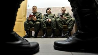 Russian conscripts in St Petersburg
