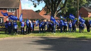 Staff at the picket line earlier