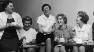 Striking machinists at Ford meet Barbara Castle for a cup of tea on 28 June 1968