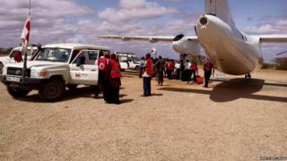 Red Cross plane transporting casualties