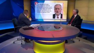 Hilary Benn being interviewed by Andrew Neil