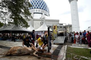 Kaum Muslimin Malaysia di kawasan masjid Sultan Salahuddin Abdul Aziz mosque di Shah Alam menjalani Idul Kurban dengan situasi yang berbeda.