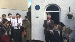 The unveiling of the plaque in Llandaff North