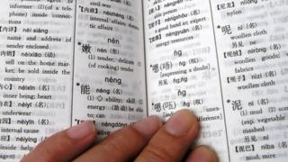 Hand on Chinese dictionary