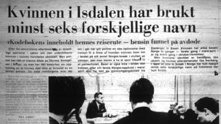 "A headline from Bergens Tidende on 23 December 1970 reads: ""The woman in Isdalen had at least six different aliases"""
