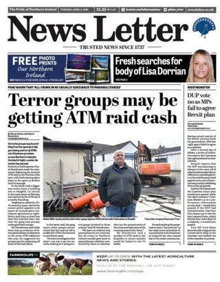 Front page of the News Letter on Tuesday