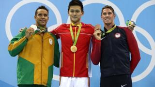 Chad Le Clos, Sun Yang et Conor Dwyer