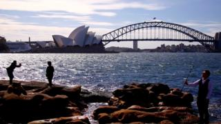 Tourists in Sydney Harbour