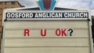 "Gosford Anglican Church billboard reads: ""R U OK?"""