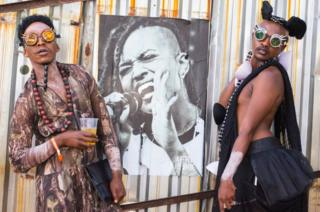 Flamboyantly dressed festival goers at AfroPunk Johannesburg