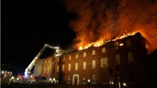 Fire at building on Bedford Hospital site