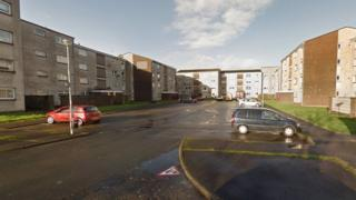 The assault took place in George Court, Hamilton, on Thursday afternoon