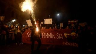 "Women from the feminist movement ""Non Una Meno"" (Not One Less) stage a protest march in Rome"