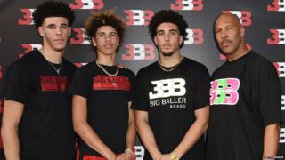 LiAngelo Ball (second from right) with brothers LA Lakers player Lonzo Ball (left), LaMelo Ball (second from left) and LaVar Ball (right)