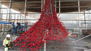 The Weeping Window being erected outside the Senedd in Cardiff