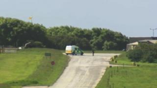 Police van at Castlemartin