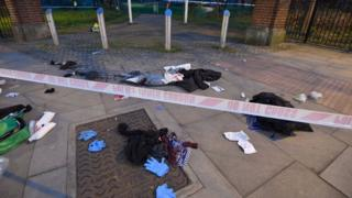 Scene where three teenagers were stabbed in Mile End