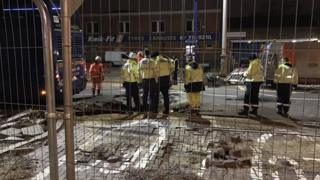 The scene of the sinkhole in Lewisham