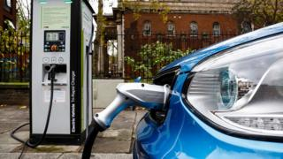 environment Electric car being charged on a London street
