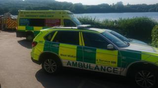 Ambulances at lake