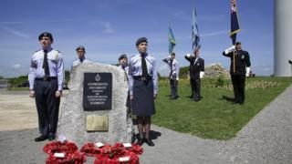 Memorial stone at RAF Stormy Down in Bridgend