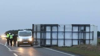 Lorry blown over on A96 in Inverness