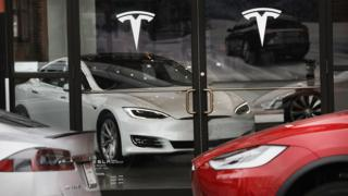 Tesla car is displayed in a showroom at a Brooklyn Tesla dealership on April 4, 2017 in New York City