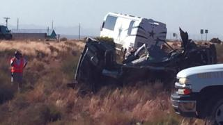 Scene of the crash involving a Dallas Cowboys bus and a van on 24 July 2016 in Arizona, the US.