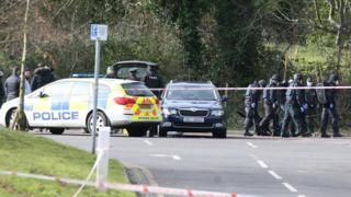 Police at the scene of the explosives haul find at Carnfunnock Country Park, near Larne