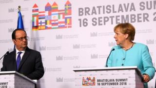 German Chancellor Angela Merkel (right) and French President Francois Hollande at EU meeting in Bratislava on 16 September