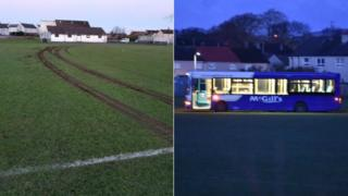 Bus damage to pitch