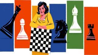 Caricatura de Lyudmila Rudenko en el doodle de Google.