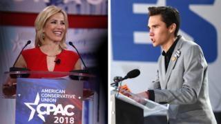 Laura Ingraham and David Hogg (right)