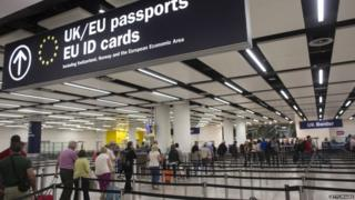 Queues for passport control at Heathrow
