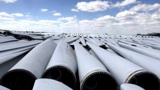Discarded wind turbine blades