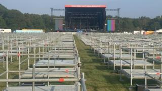 A stage and socially distanced viewing platforms