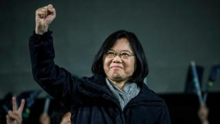 Democratic Progressive Party (DPP) presidential candidate Tsai Ing-wen waves to supporters during rally campaign ahead of the Taiwanese presidential election on January 14, 2016 in Taoyuan, Taiwan