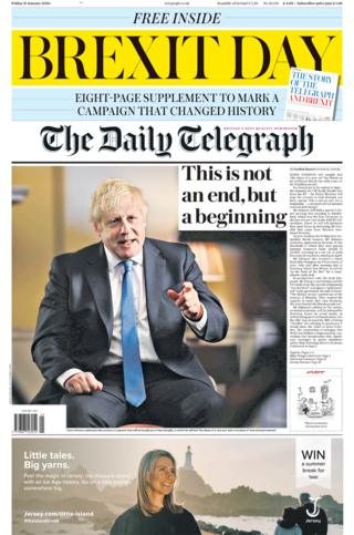 Friday's Daily Telegraph front page
