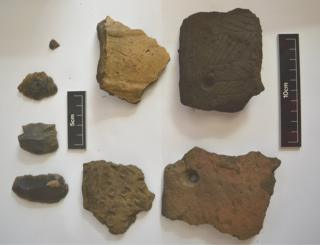 Pottery and flint tools