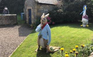 Peter Rabbit, Jemima Puddleduck and Mr McGregor scarecrows