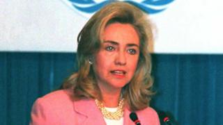 US First Lady Hillary Clinton speaks at the 'Women and Health' seminar sponsored by the World Health Organization at the UN Fourth World Conference on Women 05 September 1995 in Beijing.