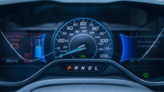 Electric battery display and central instrument panel on 2013 Ford Focus Electric.
