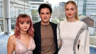 Maisie Williams, Kit Harington and Sophie Turner