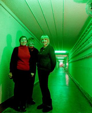 Pat Leckonby, Rosemary 'Christine' Wright and Trish Altoft in a tunnel at Holmpton Cold War bunker
