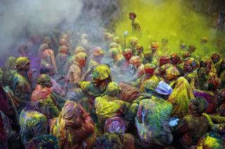 The Hindu festival of Holi. Mathura, Uttar Pradesh, India