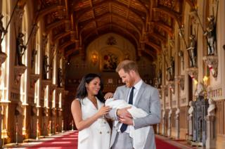 The Duke and Duchess of Sussex with their baby son, Archie Harrison Mountbatten-Windsor